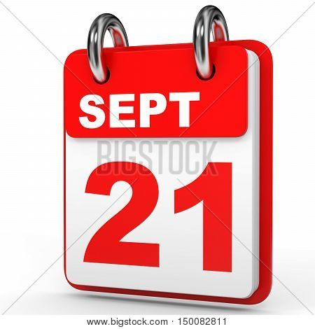 September 21. Calendar On White Background.