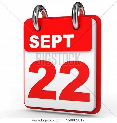 September 22. Calendar On White Background.