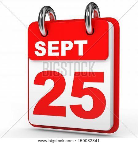 September 25. Calendar On White Background.