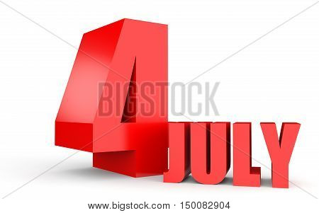 July 4. Text On White Background.