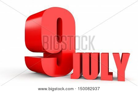 July 9. Text On White Background.