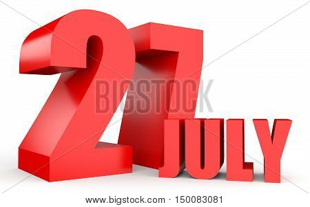 July 27. Text On White Background.