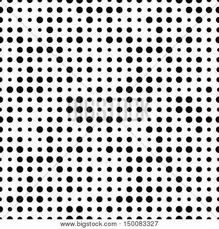 Black and white seamless pattern with halftone dots. Dotted texture. Halftone dot background. Polka dot infinity. Abstract geometrical pattern of round shape. Screen print. Vector illustration.