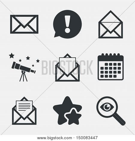 Mail envelope icons. Message document symbols. Post office letter signs. Attention, investigate and stars icons. Telescope and calendar signs. Vector