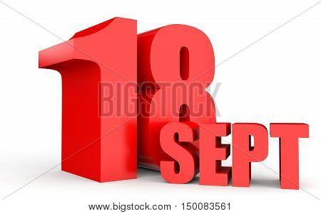 September 18. Text On White Background.