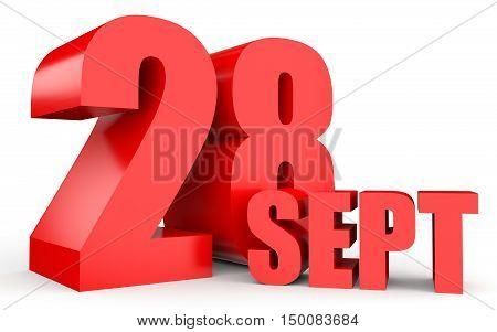 September 28. Text On White Background.