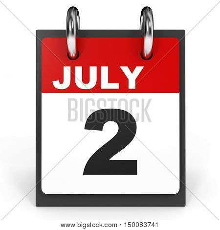 July 2. Calendar On White Background.
