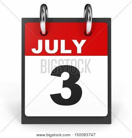 July 3. Calendar On White Background.