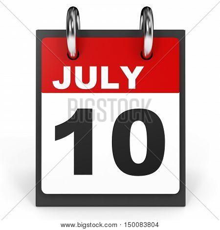 July 10. Calendar On White Background.