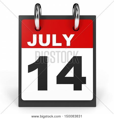 July 14. Calendar On White Background.