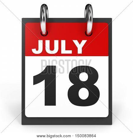 July 18. Calendar On White Background.