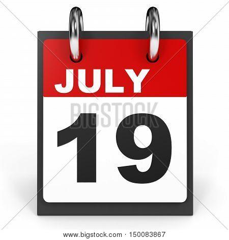 July 19. Calendar On White Background.