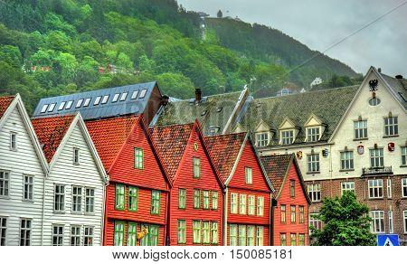 View of famous Bryggen district in Bergen - UNESCO heritage site in Norway