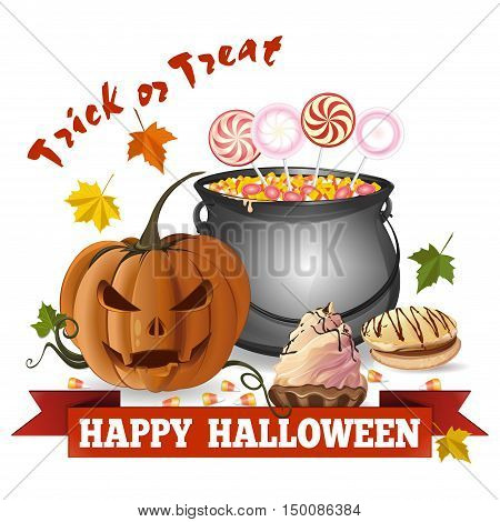 Jack-o'-lantern on the background of cauldron with candy lollipops cookies biscuits cake. Trick or treat. Happy Halloween. Vector illustration