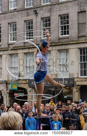 EDINBURGH, SCOTLAND--AUGUST 14, 2016--A performance being given on the Royal Mile of Edinburgh, Scotland.  The Fringe is the world's largest arts festival held every August in Edinburgh.