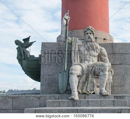 Saint Petersburg, Russia September 10, 2016: Rostral column one of the symbols of Saint-Petersburg.