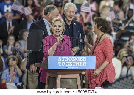 29 July 2016 - PhiladelphiaPA - Secretary Hillary Clinton Democratic Presidential Nominee rally in Philadelphia (l-r Tim Kaine Hillary Cinton Bill Clnton & Anne Holton).