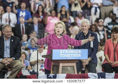 29 July 2016 - PhiladelphiaPA - Secretary Hillary Clinton Democratic Presidential Nominee rally in Philadelphia (l-r Tim Kaine Hillary Cinton Bill Clnton & Anne Holton).