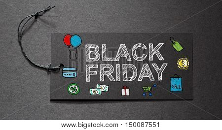 Black Friday Text On A Black Tag