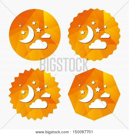 Moon, clouds and stars icon. Sleep dreams symbol. Night or bed time sign. Triangular low poly buttons with flat icon. Vector