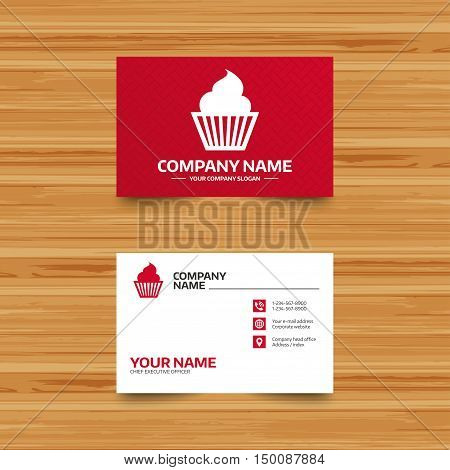 Business card template. Muffin sign icon. Cupcake symbol. Phone, globe and pointer icons. Visiting card design. Vector