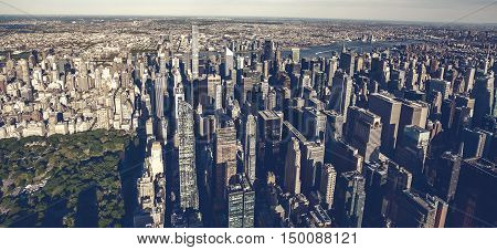 Aerial View Of Times Square New York City At Sunset