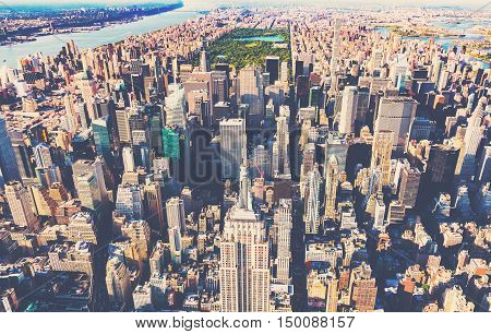 Aerial View Of Midtown Manhattan New York City
