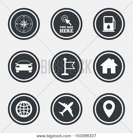 Navigation, gps icons. Windrose, compass and map pointer signs. Car, airplane and flag symbols. Circle flat buttons with icons and border. Vector