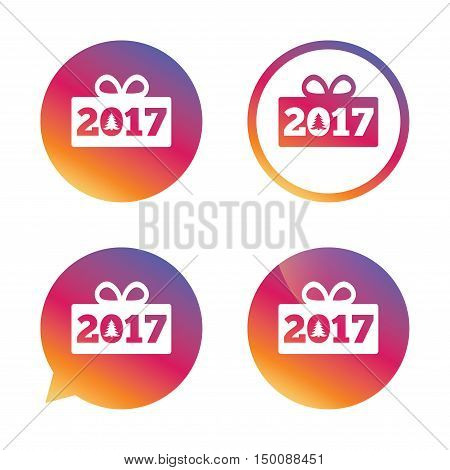 Happy new year 2017 sign icon. Christmas gift anf tree. Gradient buttons with flat icon. Speech bubble sign. Vector