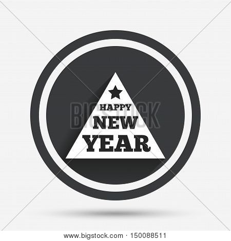 Happy new year sign icon. Christmas tree triangle symbol. Circle flat button with shadow and border. Vector
