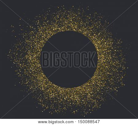 Vector golden texture effect. Golden dust circle with space for text.
