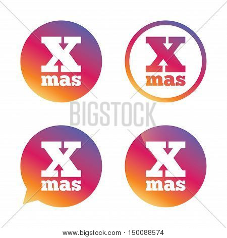Happy new year sign icon. Xmas symbol. Gradient buttons with flat icon. Speech bubble sign. Vector