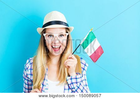 Young Traveling Woman Holding Italian Flag