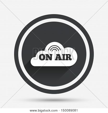 On air sign icon. Live stream symbol. Circle flat button with shadow and border. Vector