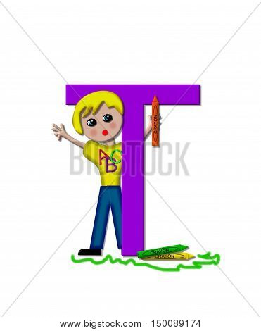The letter T in the alphabet set