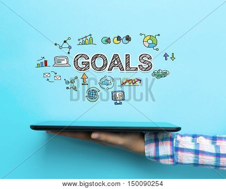 Goals Concept With A Tablet