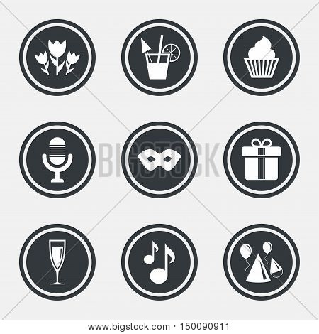 Party celebration, birthday icons. Cocktail, air balloon and champagne glass signs. Gift box, flowers and carnival symbols. Circle flat buttons with icons and border. Vector