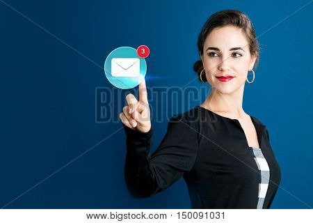 Email Icon With Business Woman