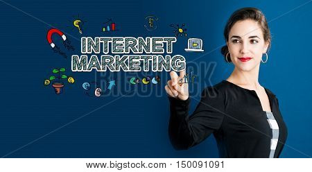 Internet Marketing Concept With Business Woman