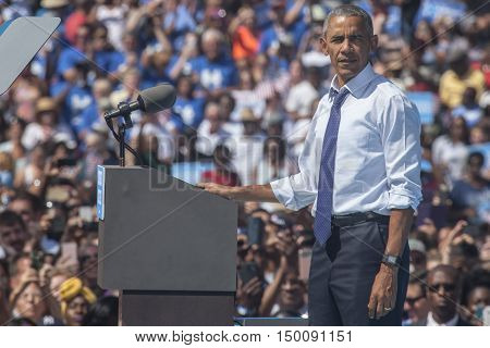 13 September 2016 - Philadelphia USA - President Barack Obama campaigns for Hillary Clinton in Philadelphia.