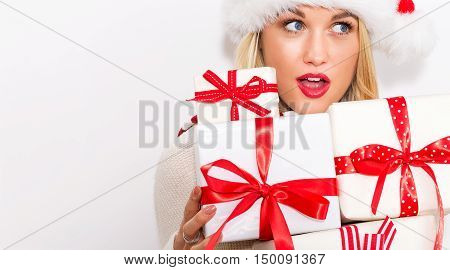 Happy Young Woman Christmas Gifts