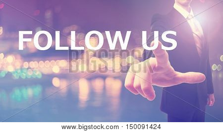 Follow Us Concept With Businessman