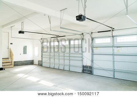 Residential house large three two doors garage interior