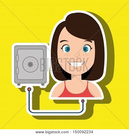 woman cartoon box safe steel vector illustration eps 10