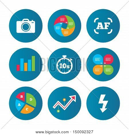 Business pie chart. Growth curve. Presentation buttons. Photo camera icon. Flash light and autofocus AF symbols. Stopwatch timer 10 seconds sign. Data analysis. Vector