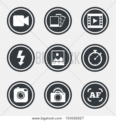 Photo, video icons. Camera, photos and frame signs. Flash, timer and landscape symbols. Circle flat buttons with icons and border. Vector