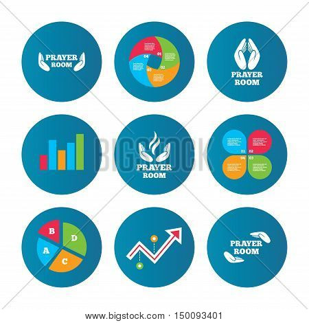 Business pie chart. Growth curve. Presentation buttons. Prayer room icons. Religion priest faith symbols. Pray with hands. Data analysis. Vector