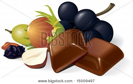Chocolate pieces, raisins and hazelnuts composition