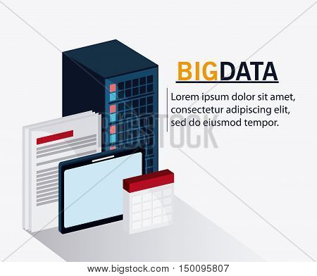 Document tablet and calendar icon. Big data center base and web hosting theme. Colorful design. Vector illustration