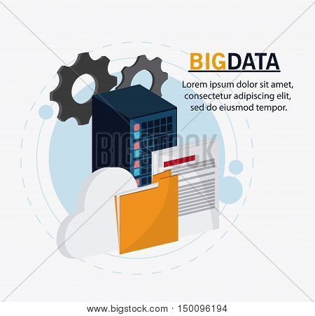 Gears document file and cloud icon. Big data center base and web hosting theme. Colorful design. Vector illustration